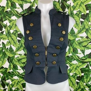 Bebe Navy Bronze Military Style Zip Up Vest